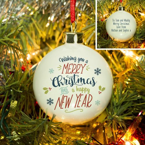 Personalised Wishing You A Merry Christmas Bauble
